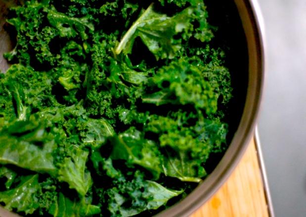 bucket of kale