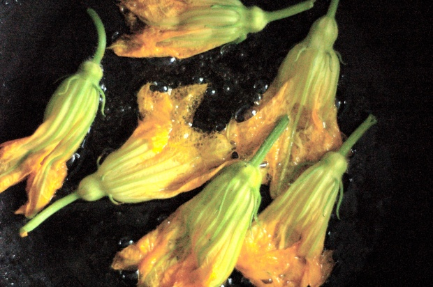 Fried Zucchini Blossoms in Vegetable Oil.
