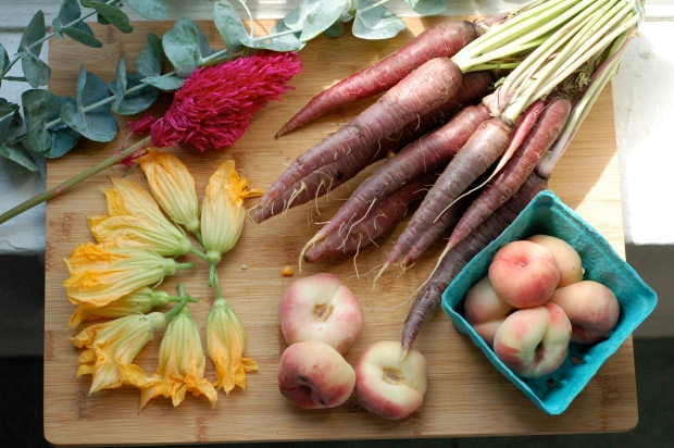 A Trip to the Farmers' Market, Starring Ms. Zucchini Blossoms.
